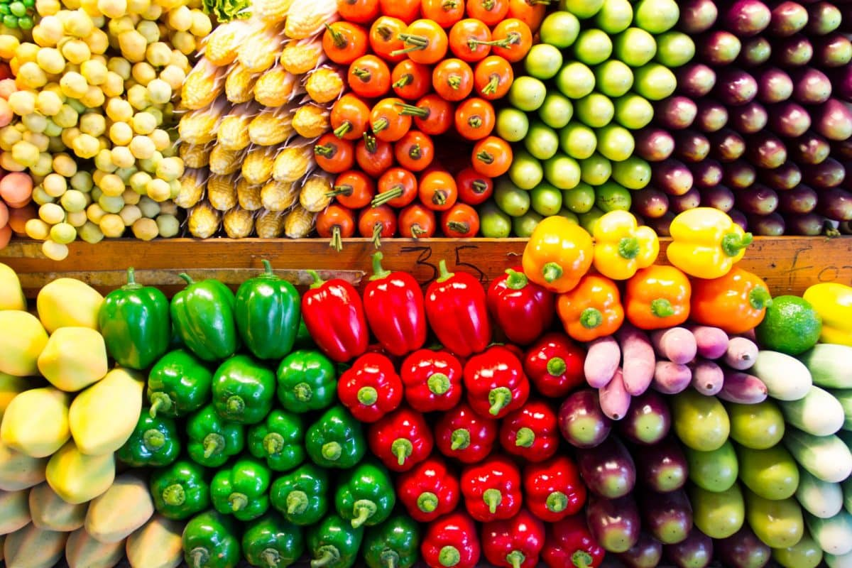 portions of fruits and veggies at grocery
