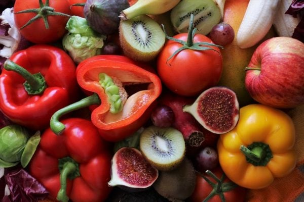 cut up peppers and fruits